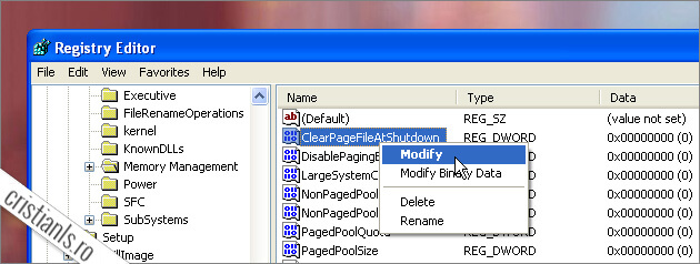 Windows-XP-Start-Run-Regedit-ClearPageFileAtShutdown