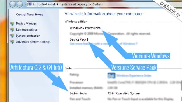 Windows de 32 sau de 64 de biti