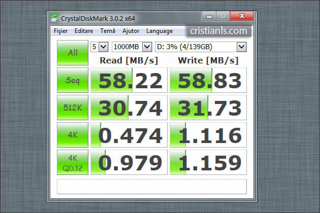 CrystalDiskMark: Hard Disk în Caddy