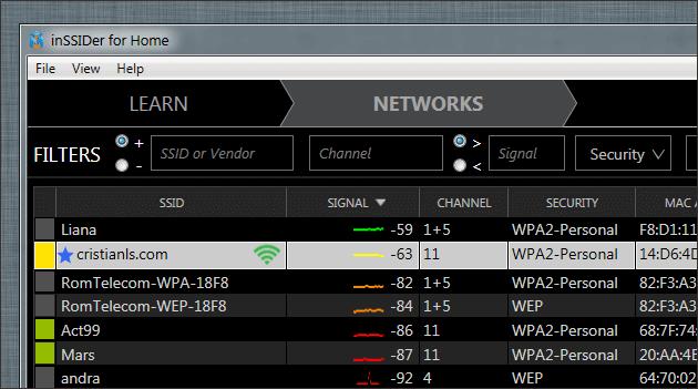 Detectarea canalului Wi-Fi
