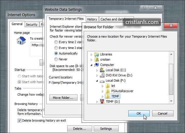 Temporare Internet Explorer