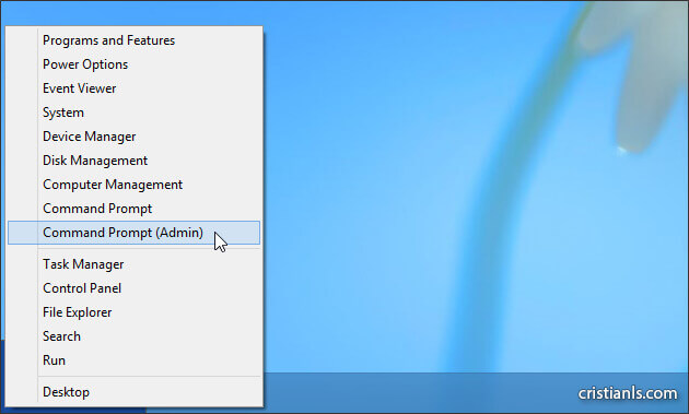 Command Prompt Admin în Windows 8