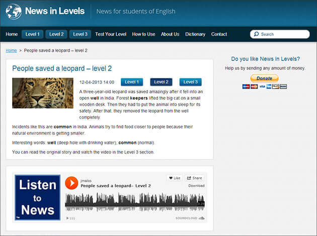 News in Levels - Invata limba engleză online