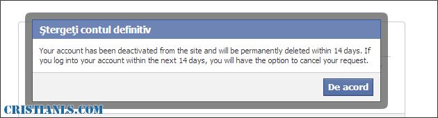 contul facebook va fi șters