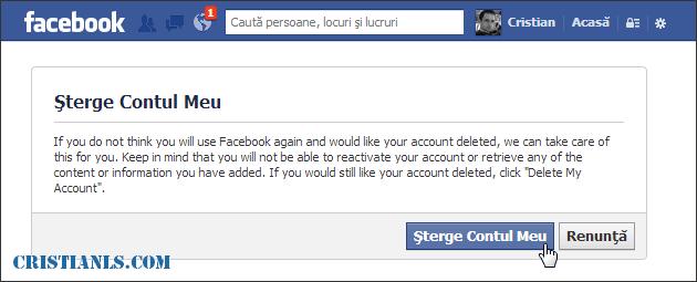 Cum se șterge un cont Facebook