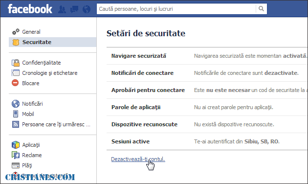 dezactivare cont facebook
