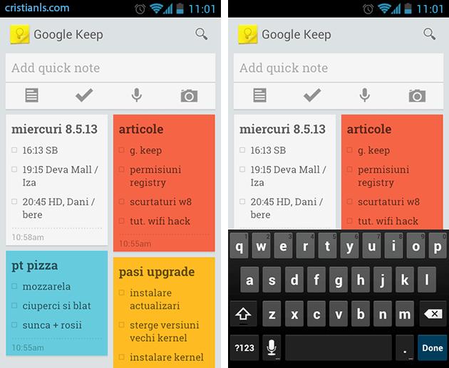 Google Keep pentru Android