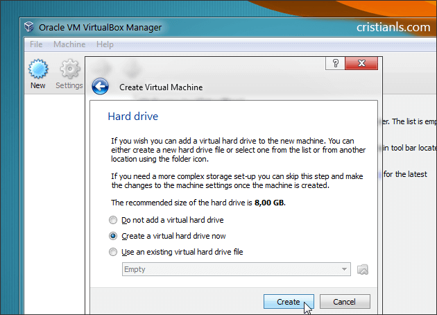 create a virtual hard drive now