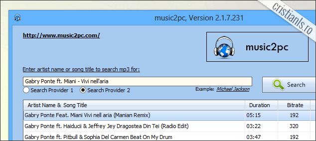 Program de descarcat muzica - music2pc