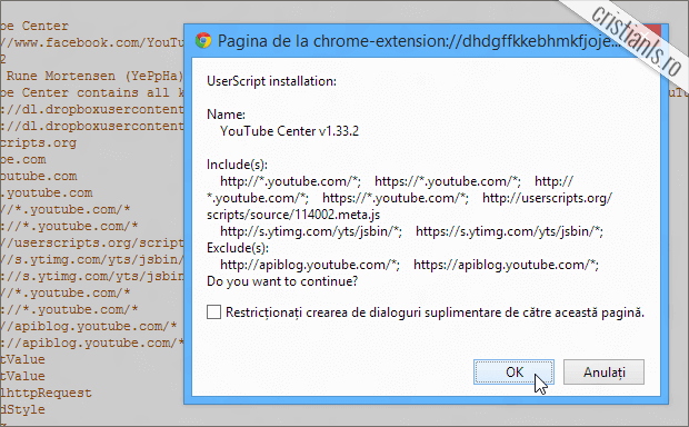 Confirmarea instalarii YouTube Center