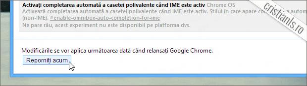 Reporniți Google Chrome