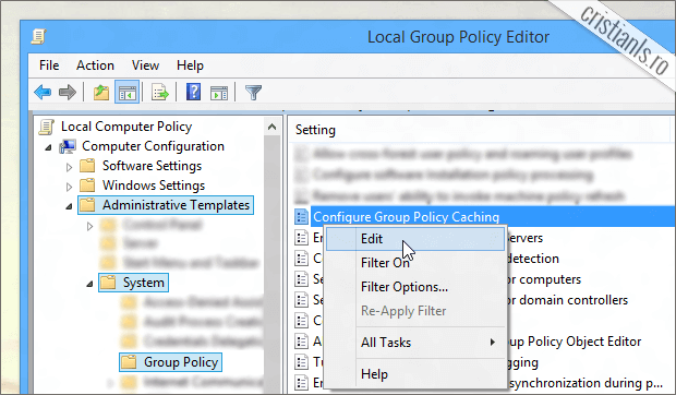 activare cache Group Policy
