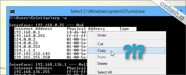 cum se copiaza textul din linia de comanda cmd