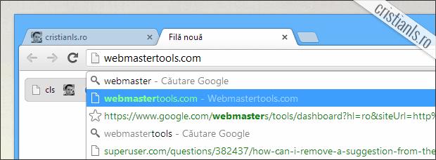 elimina sugestii din google chrome