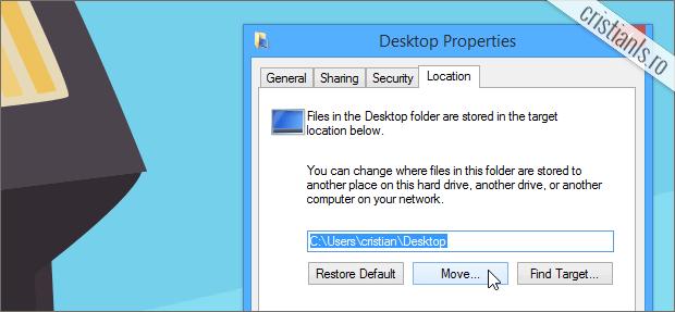 modifica locatia bibliotecii desktop