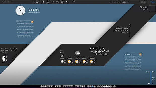 tema rainmeter black & blue