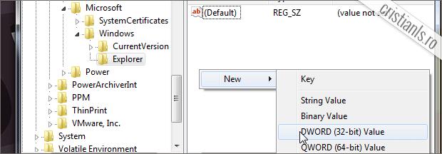 click dreapta » New » DOWRD 32 BITI