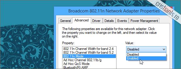 cum se activeaza 802.11n wireless wifi