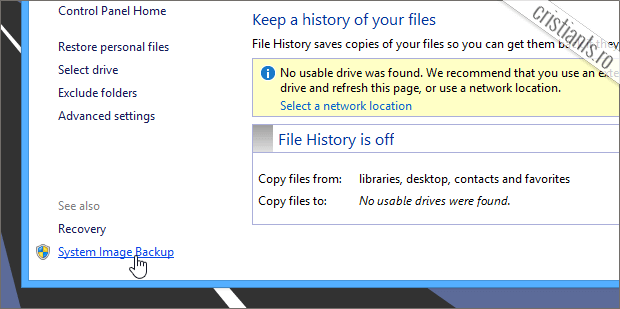 imagine de sistem in Windows 8.1