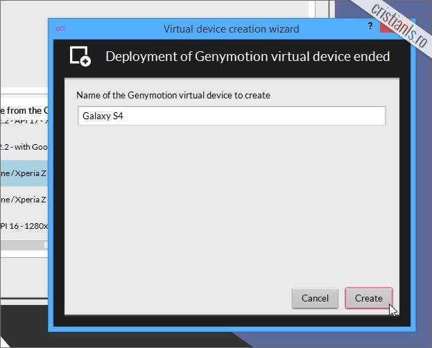 nume pentru dispozitivul virtual cu android