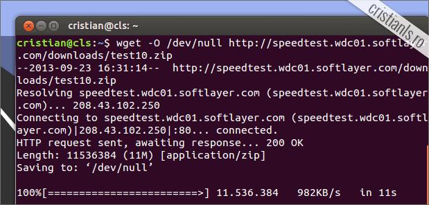 testeaza viteza conexiunii la internet din Terminal