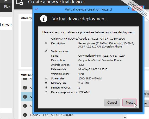 verificarea proprietatilor dispozitivului virtual ales