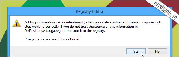 Adaugare informatii in Windows Registry