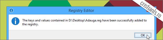 Confirmare adaugare informatii in Windows Registry