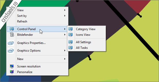 Control Panel in meniul contextual Desktop