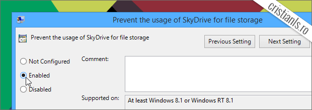 Prevent the usage of SkyDrive