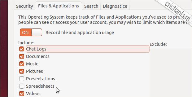 inregistrare activitate ubuntu