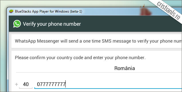 tara si numar telefon WhatsApp Messenger