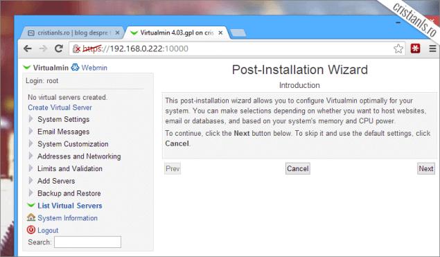 Configurare inițială Virtualmin
