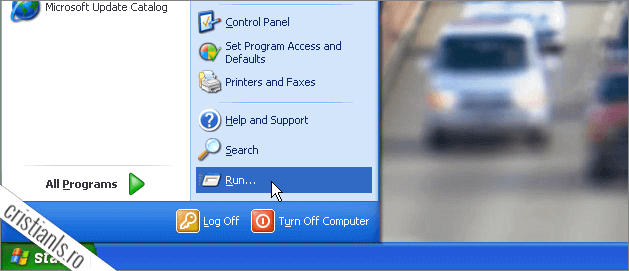 Start » Run (Windows XP)