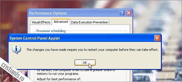 necesar restart modificare cantitate memorie virtuala