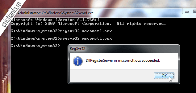 DLLregisterServer in mscomctl.ocx succeded