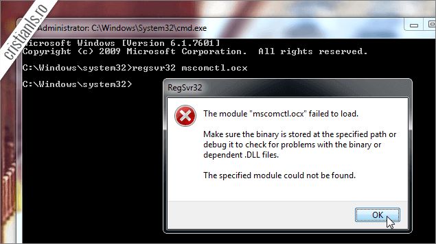 The module mscomctl.ocx failed to load