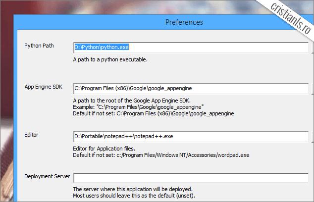 Configurare App Engine Launcher