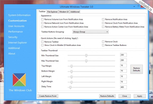 Ultimate Windows Tweaker - Customization