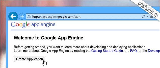 creare aplicatie google app engine