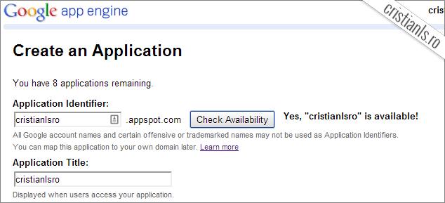 creare și denumirea unei aplicatii app engine