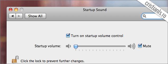 dezactivează sunetul de pornire a macbook-ului