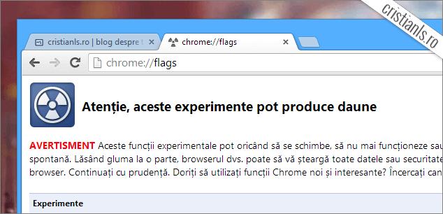 Funcții experimentale Google Chrome