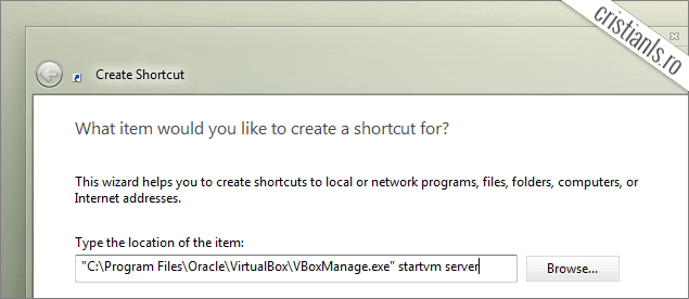 Shortcut masina virtuala VirtualBox