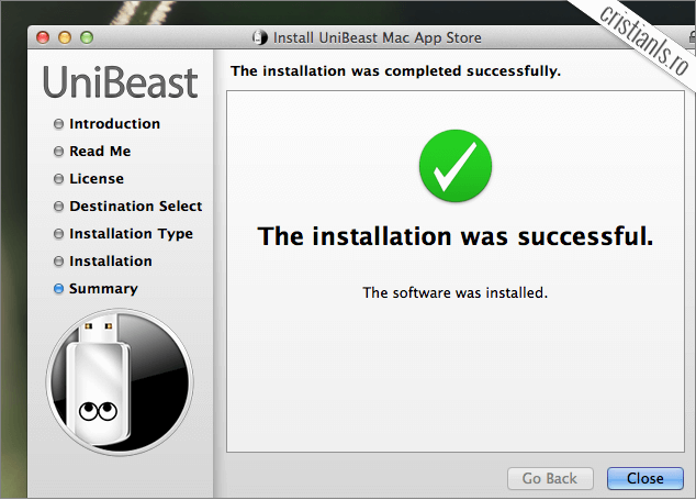 USB de instalare a OS X 10.9 Mavericks creat cu succes