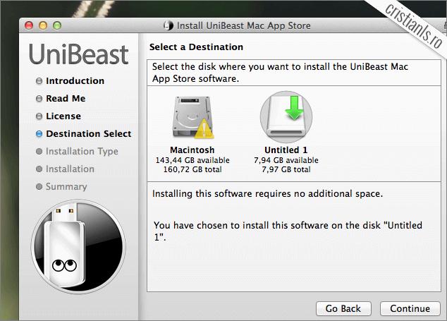 UniBeast creare USB de instalare OS X 10.9 Mavericks
