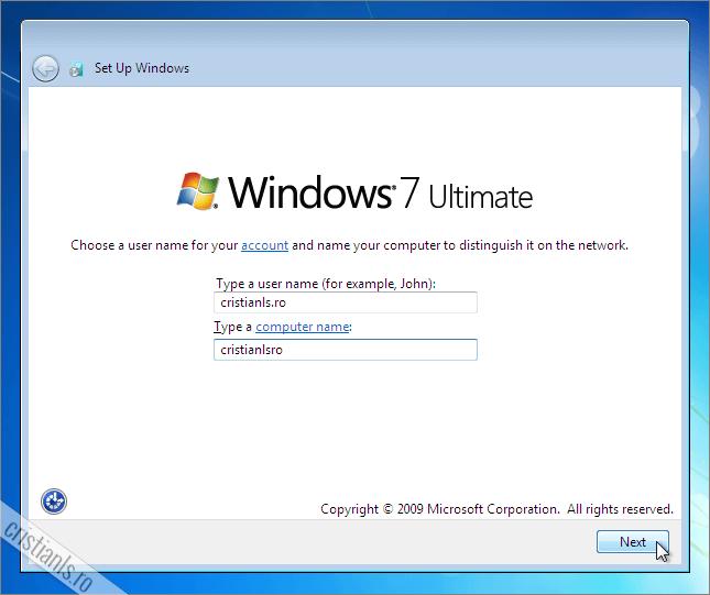 Dupa instalarea Windows 7 cream contul de utilizator