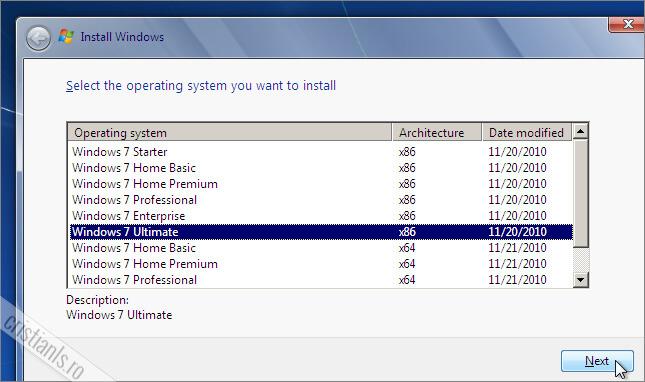 alegerea versiunii Windows 7 pe care o veti instala