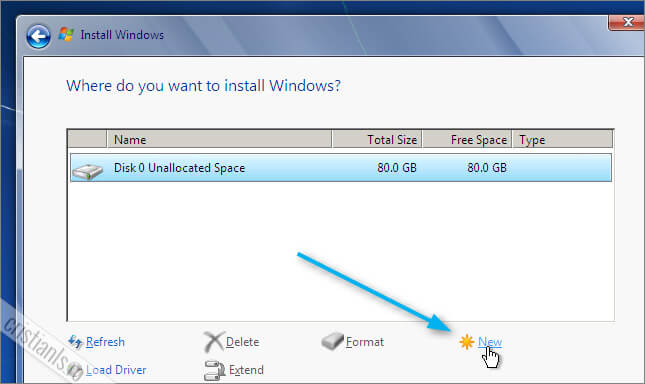 crearea partitiei in care va fi instalat windows 7