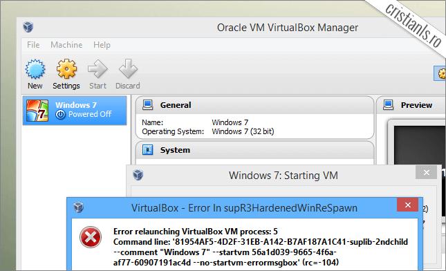 eroare virtualbox